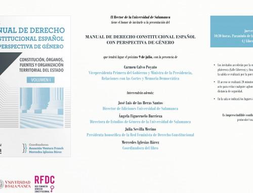 Presentación Manual de Derecho Constitucional desde la perspectiva de género en la Universidad de Salamanca (9 julio 2020)
