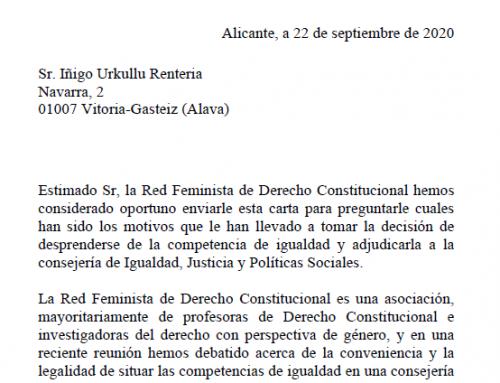 La Red Feminista de Derecho Constitucional se posiciona ante la decisión de sacar de la Lehendakaritza a Emakunde.
