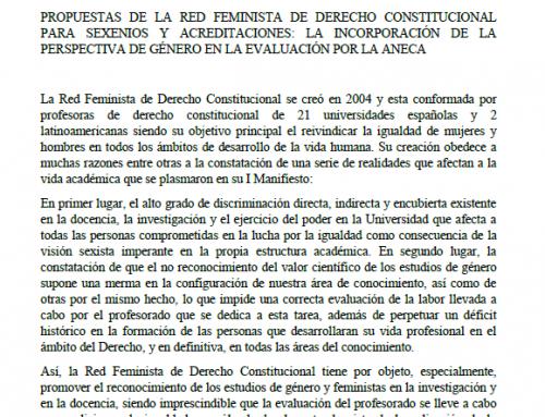 PROPUESTAS DE LA RED FEMINISTA DE DERECHO CONSTITUCIONAL PARA SEXENIOS Y ACREDITACIONES: LA INCORPORACIÓN DE LA PERSPECTIVA DE GÉNERO EN LA EVALUACIÓN POR LA ANECA
